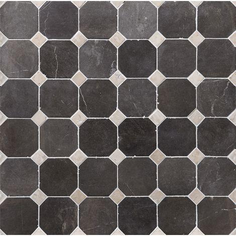 10x10 Marmormosaiik Octagon Grey-White