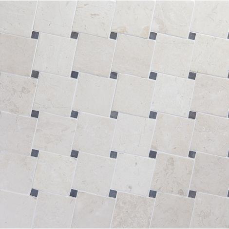 10x10 Marmormosaiik Diagonal White-Grey