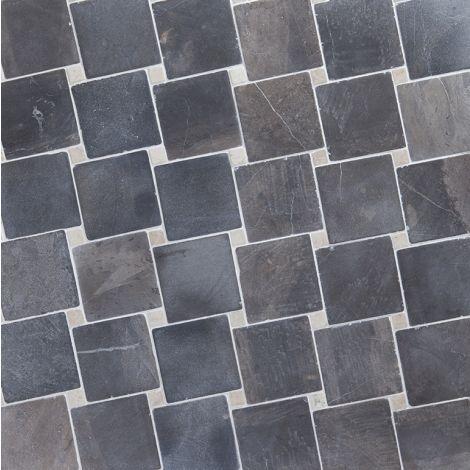 10x10 Marmormosaiik Diagonal  Grey-White