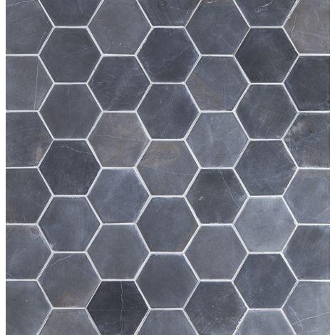 10x10 Marmorplaat Hexagon Grey
