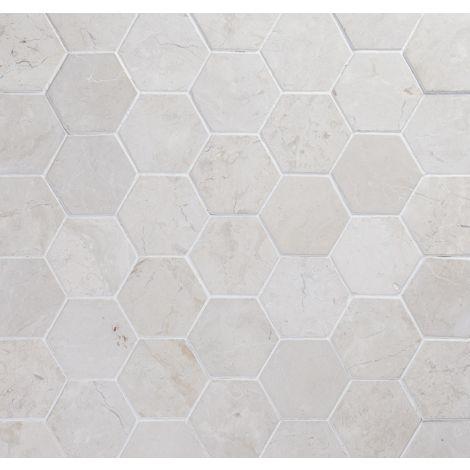 10x10 Marmorplaat Hexagon White