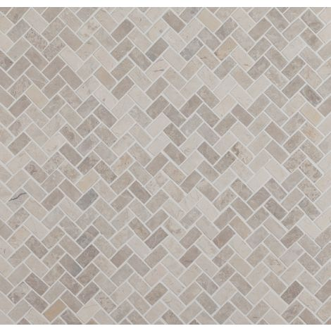 2x4 Marmormosaiik Herringbone White Mini