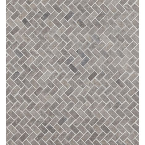 2x4 Marmormosaiik Herringbone Light Grey Mini