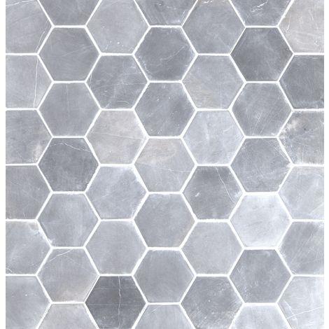 10x10 Marmorplaat Hexagon Light Grey