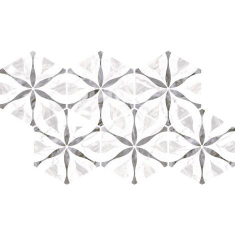 17,5x20 Bardiglio Hexagon Flower