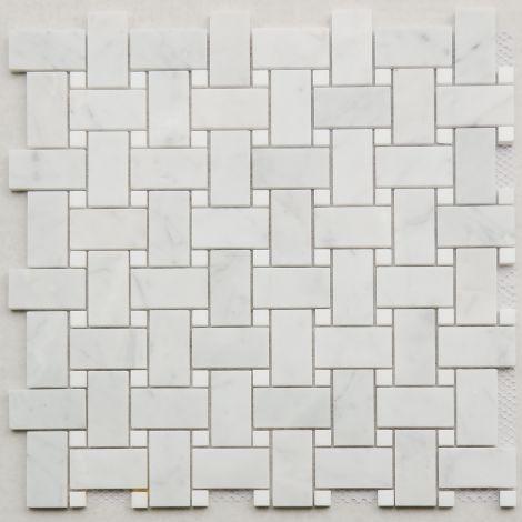 2,5x4,8 Marmormosaiik Bianco Carrara Basketweave