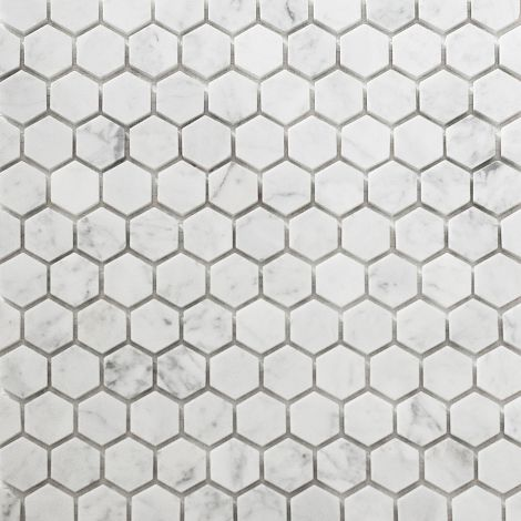 2,5x2,5  Marmormosaiik Bianco Carrara Hexagon Honed