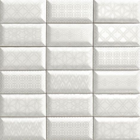 10x20 Keraamiline plaat BUMPY LUxOR WHITE