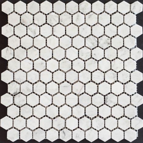 2,5x2,5 Marmormosaiik Bianco Carrara Hexagon Pol.