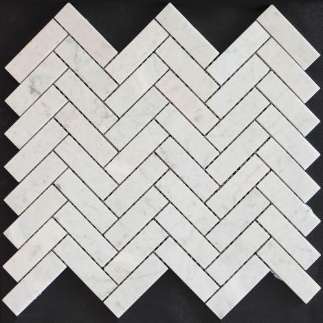 2,8x7,4 Marmormosaiik Bianco Carrara Herringbone Pol.