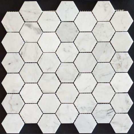 4,8x4,8 Marmormosaiik Bianco Carrara Hexagon Pol.